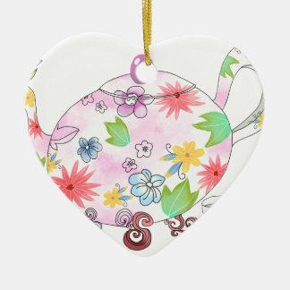 Ornement Cœur En Céramique Tenir la fleur avec AMOUR