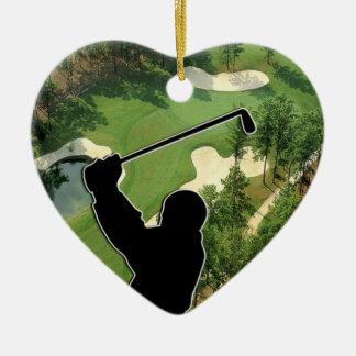 Ornement Cœur En Céramique Terrain de golf
