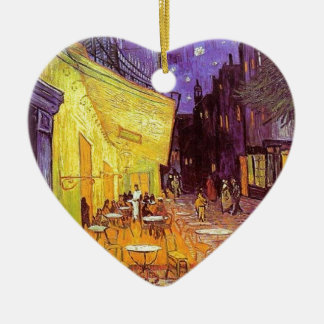 Ornement Cœur En Céramique Terrasse de café de Van Gogh la nuit