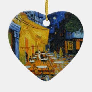 Ornement Cœur En Céramique Terrasse de Café le nuit de Vincent Van Gogh