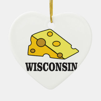 Ornement Cœur En Céramique Tête de fromage du Wisconsin