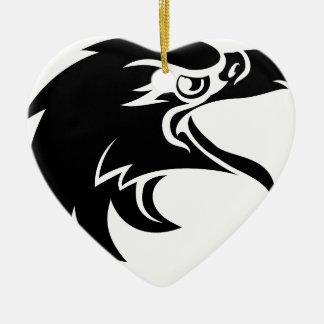 Ornement Cœur En Céramique Tête d'Eagle dans le profil