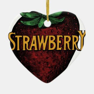 Ornement Cœur En Céramique Texte vintage de fraise
