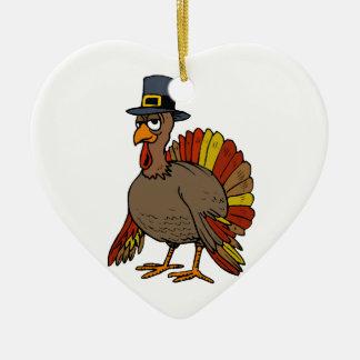 Ornement Cœur En Céramique Thanksgiving Turquie