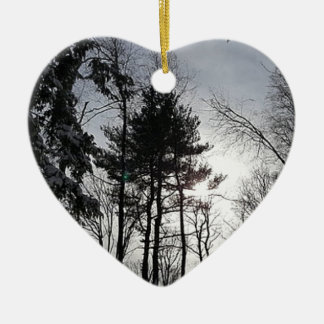 Ornement Cœur En Céramique Thème flou d'hiver