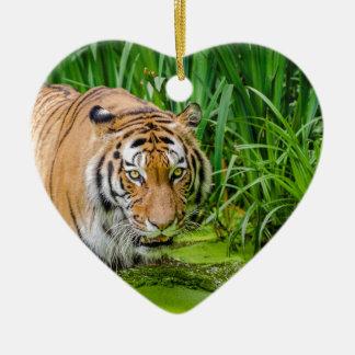 Ornement Cœur En Céramique Tigre sibérien