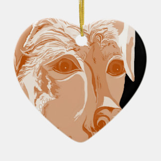 Ornement Cœur En Céramique Tons de sépia de rottweiler