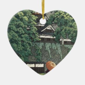 Ornement Cœur En Céramique Tour d'Udo, château de Kumamoto sous la pluie -