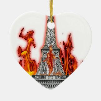 Ornement Cœur En Céramique tour eiffel fire