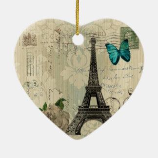 Ornement Cœur En Céramique Tour Eiffel rose de Paris de papillon crème de