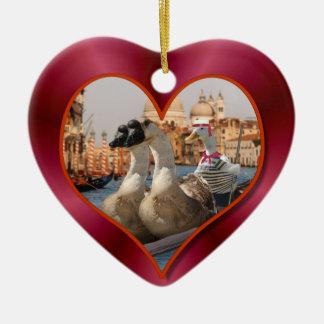 Ornement Cœur En Céramique Tour romantique de gondole avec l'arrière - plan
