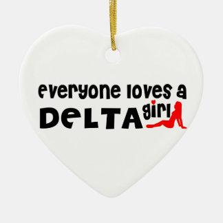 Ornement Cœur En Céramique Tout le monde aime une fille de delta