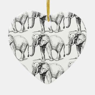 Ornement Cœur En Céramique traînées d'éléphant