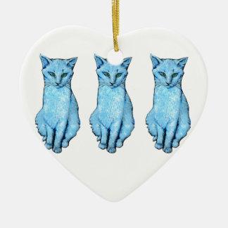 Ornement Cœur En Céramique Trois chats bleus