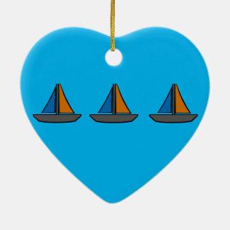 Ornement Cœur En Céramique Trois voiliers colorés