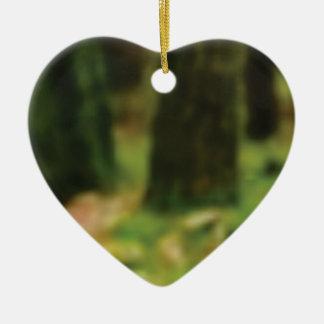Ornement Cœur En Céramique tronçons verts des bois humides