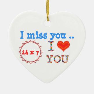 Ornement Cœur En Céramique Tu me manque - un cadeau d'impact de l'expression