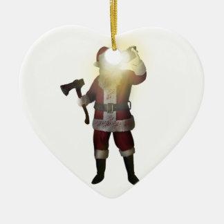 Ornement Cœur En Céramique Tueur de Père Noël