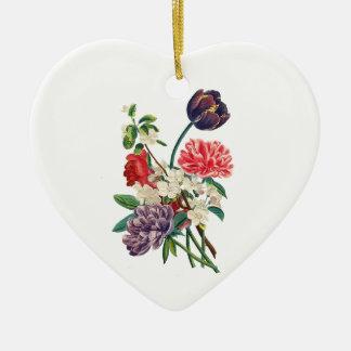 Ornement Cœur En Céramique Tulipes et pivoines de Redoute