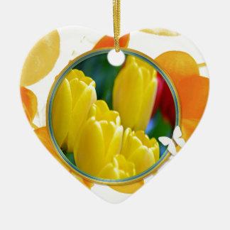 Ornement Cœur En Céramique Tulipes jaunes dans le cadre rond coloré