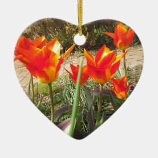 Ornement Cœur En Céramique Tulipes rouges et jaunes