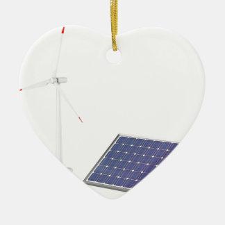 Ornement Cœur En Céramique Turbine de vent et panneau solaire