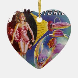 Ornement Cœur En Céramique Type pourpre dans un globe