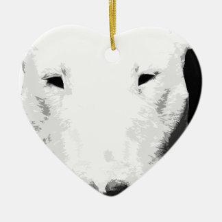 Ornement Cœur En Céramique Un bull-terrier noir et blanc