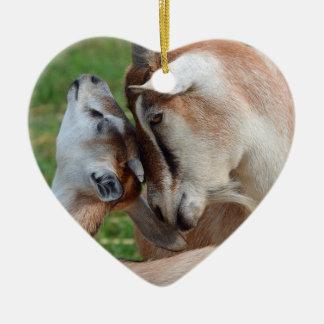Ornement Cœur En Céramique Un coeur tendre de chèvre de mère et de bébé de