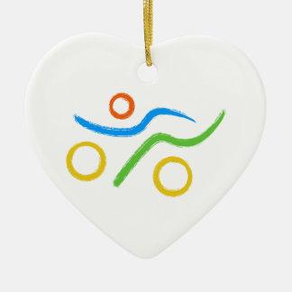 Ornement Cœur En Céramique Un grand cadeau de triathlon pour votre ami ou