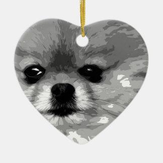 Ornement Cœur En Céramique Un Pomeranian noir et blanc
