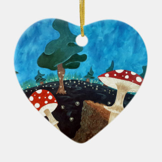 Ornement Cœur En Céramique Une nuit trippy dans les bois