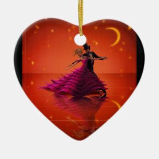 Ornement Cœur En Céramique Une valse rouge