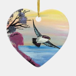 Ornement Cœur En Céramique Une vue d'oiseaux