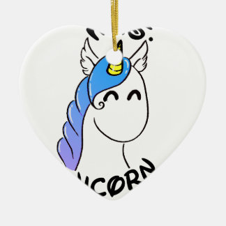 Ornement Cœur En Céramique Unicorn