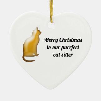 Ornement Cœur En Céramique Vacances de garde d'enfants de chat de Purrfect de