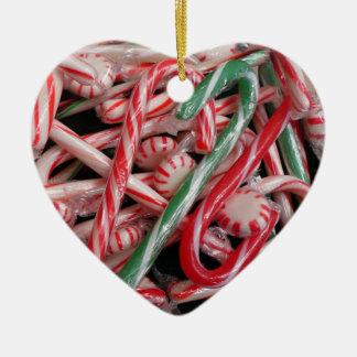 Ornement Cœur En Céramique Vacances de Noël de sucres de canne et de menthes