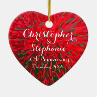 Ornement Cœur En Céramique Vacances rouges et vertes de Noël d'anniversaire