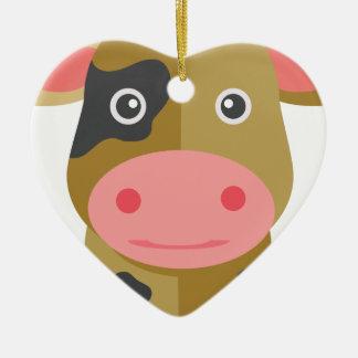 Ornement Cœur En Céramique Vache mignonne à bande dessinée