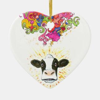 Ornement Cœur En Céramique Vache psychédélique