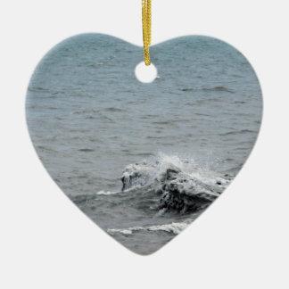 Ornement Cœur En Céramique Vagues sur la glace