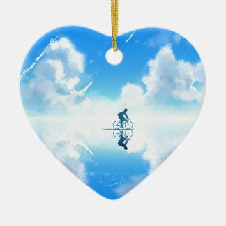 Ornement Cœur En Céramique Vélo de flottement