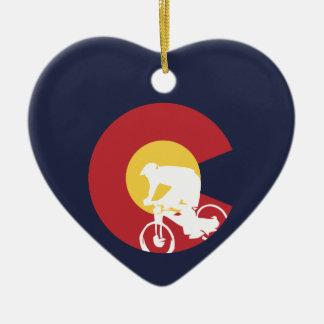Ornement Cœur En Céramique Vélo de montagne le Colorado