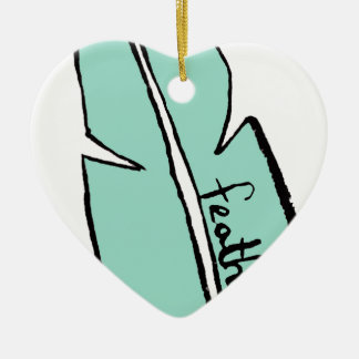 Ornement Cœur En Céramique vert de plume