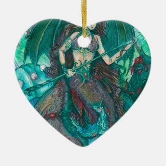 Ornement Cœur En Céramique Vert de Teal de mer d'océan de licorne de sirène