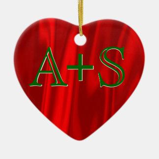 Ornement Cœur En Céramique Vert rouge d'initiales de monogramme de couples de