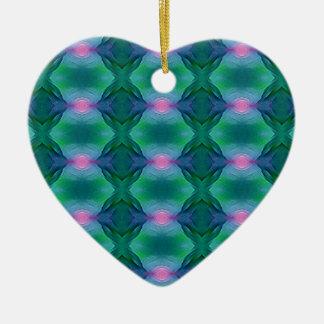 Ornement Cœur En Céramique Verts bleus modernes vibrants avec le motif de