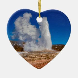 Ornement Cœur En Céramique Vieux fidèle de Yellowstone