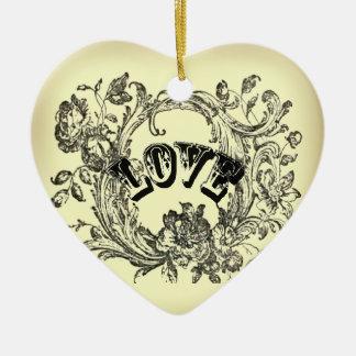 Ornement Cœur En Céramique vieux victorian de remous de flourish de jaune de