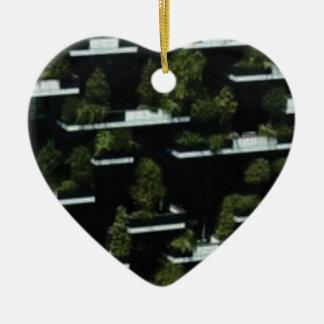 Ornement Cœur En Céramique village d'arbre haut